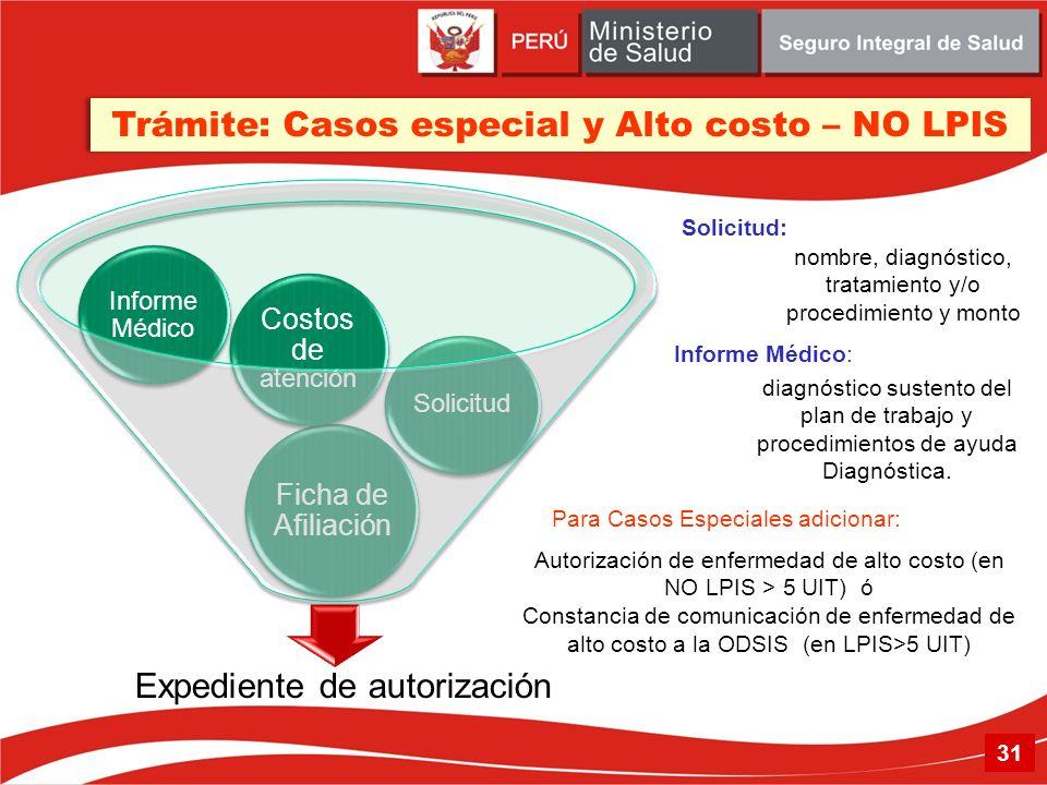 Trámite: Casos especial y Alto costo – NO LPIS Solicitud diagnóstico sustento del plan de trabajo y procedimientos de ayuda Diagnóstica. nombre, diagn