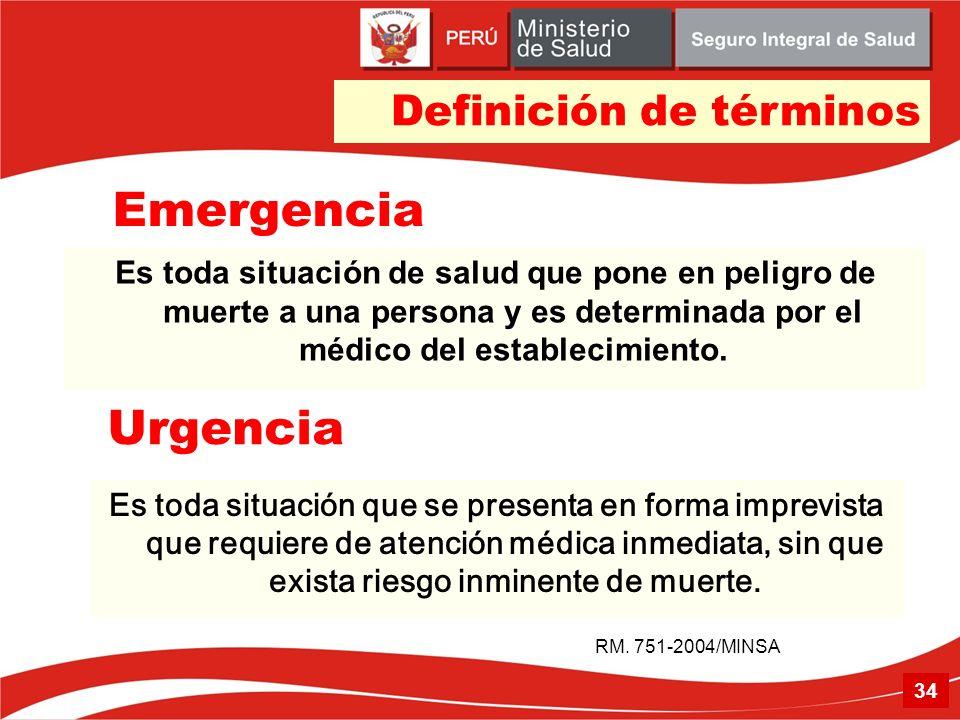 Emergencia Es toda situación de salud que pone en peligro de muerte a una persona y es determinada por el médico del establecimiento. RM. 751-2004/MIN