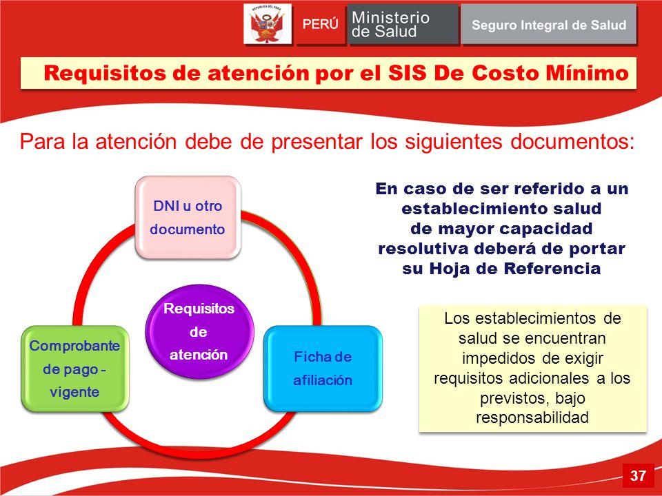 Requisitos de atención DNI u otro documento Ficha de afiliación Comprobante de pago - vigente Los establecimientos de salud se encuentran impedidos de