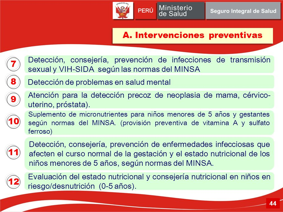 A. Intervenciones preventivas Detección de problemas en salud mental Atención para la detección precoz de neoplasia de mama, cérvico- uterino, próstat