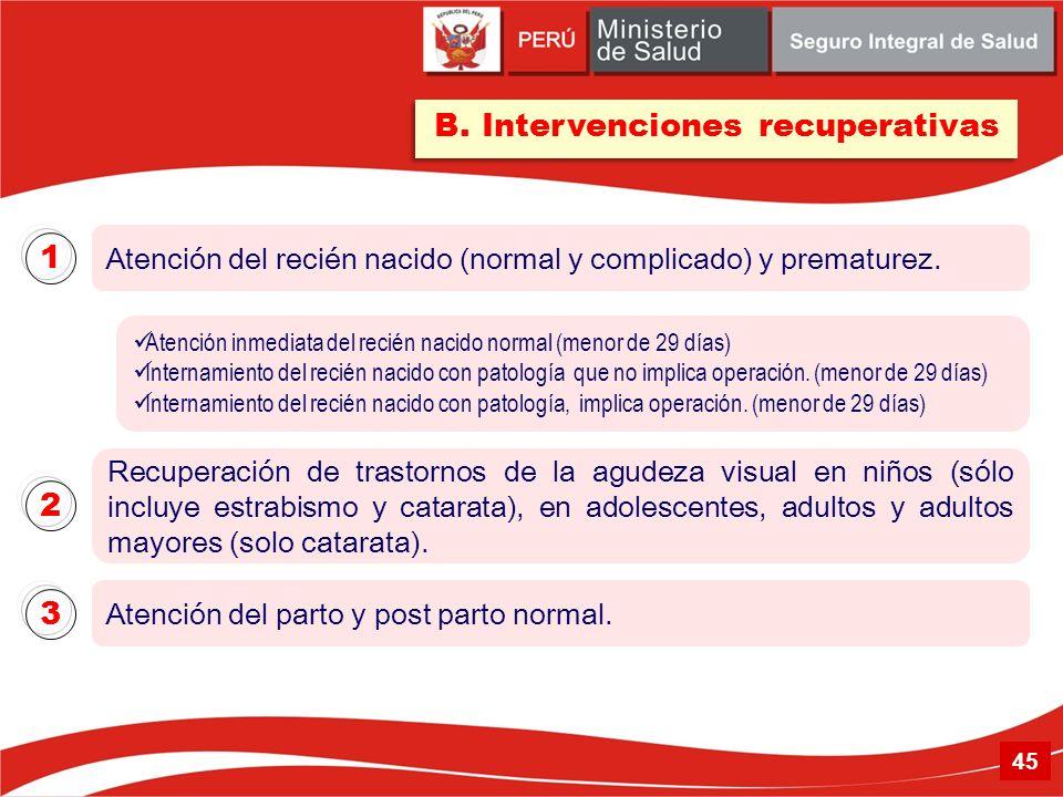 Atención del recién nacido (normal y complicado) y prematurez. 1 B. Intervenciones recuperativas Atención inmediata del recién nacido normal (menor de