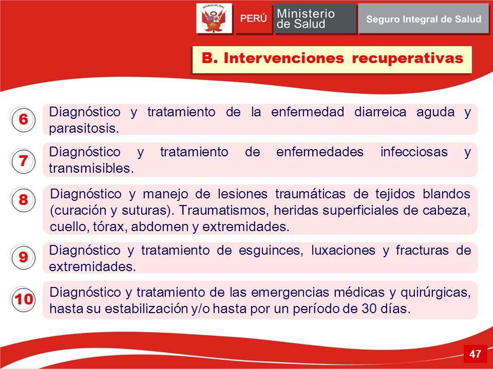 B. Intervenciones recuperativas Diagnóstico y tratamiento de la enfermedad diarreica aguda y parasitosis. 6 Diagnóstico y manejo de lesiones traumátic