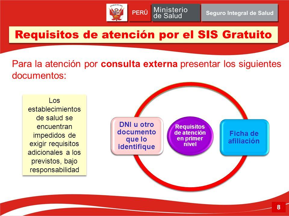 Requisitos de atención en primer nivel DNI u otro documento que lo identifique Ficha de afiliación Los establecimientos de salud se encuentran impedid