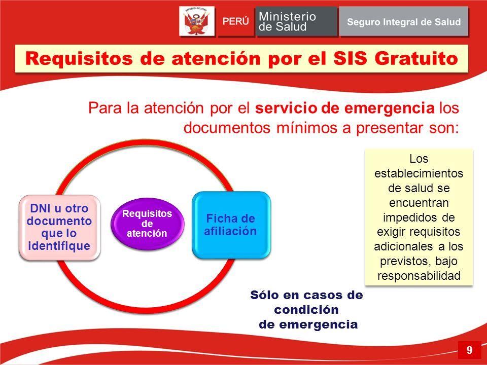 Requisitos de atención DNI u otro documento que lo identifique Ficha de afiliación Los establecimientos de salud se encuentran impedidos de exigir req