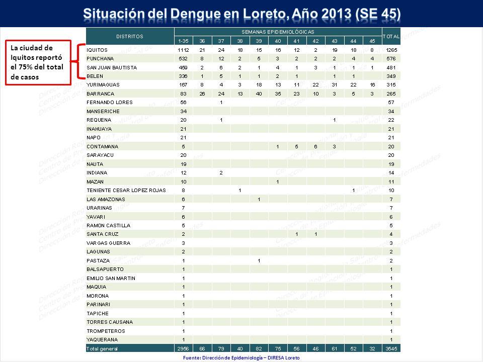 Fuente: Dirección de Epidemiología – DIRESA Loreto La ciudad de Iquitos reportó el 75% del total de casos