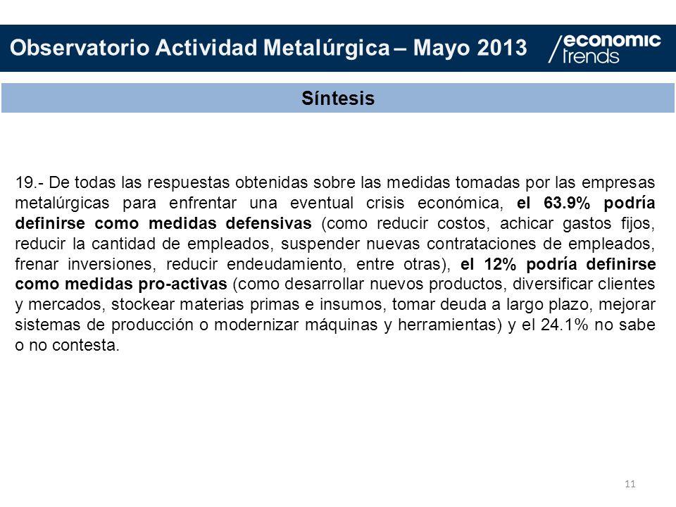 11 Síntesis 19.- De todas las respuestas obtenidas sobre las medidas tomadas por las empresas metalúrgicas para enfrentar una eventual crisis económic