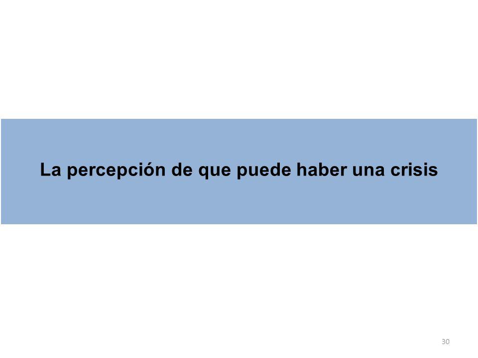 30 La percepción de que puede haber una crisis