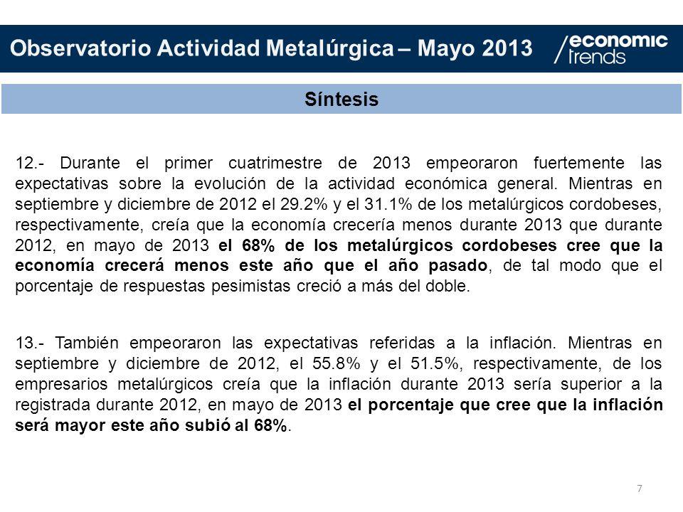 7 Síntesis 12.- Durante el primer cuatrimestre de 2013 empeoraron fuertemente las expectativas sobre la evolución de la actividad económica general. M
