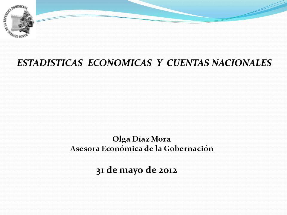 ESTADISTICAS ECONOMICAS Y CUENTAS NACIONALES Olga Díaz Mora Asesora Económica de la Gobernación 31 de mayo de 2012