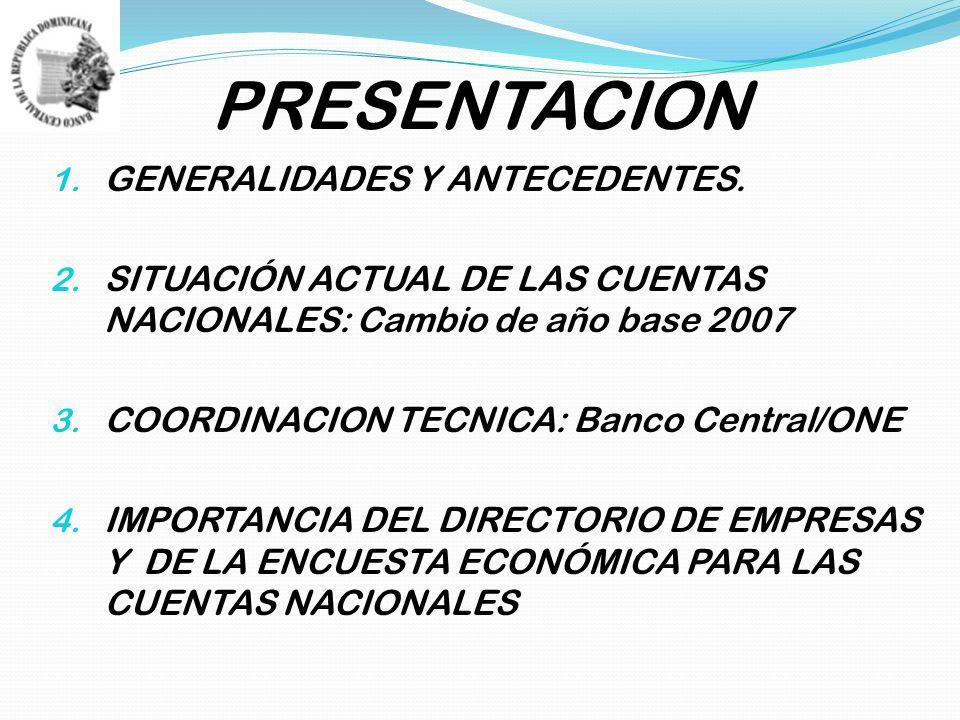 PRESENTACION 1. GENERALIDADES Y ANTECEDENTES. 2.
