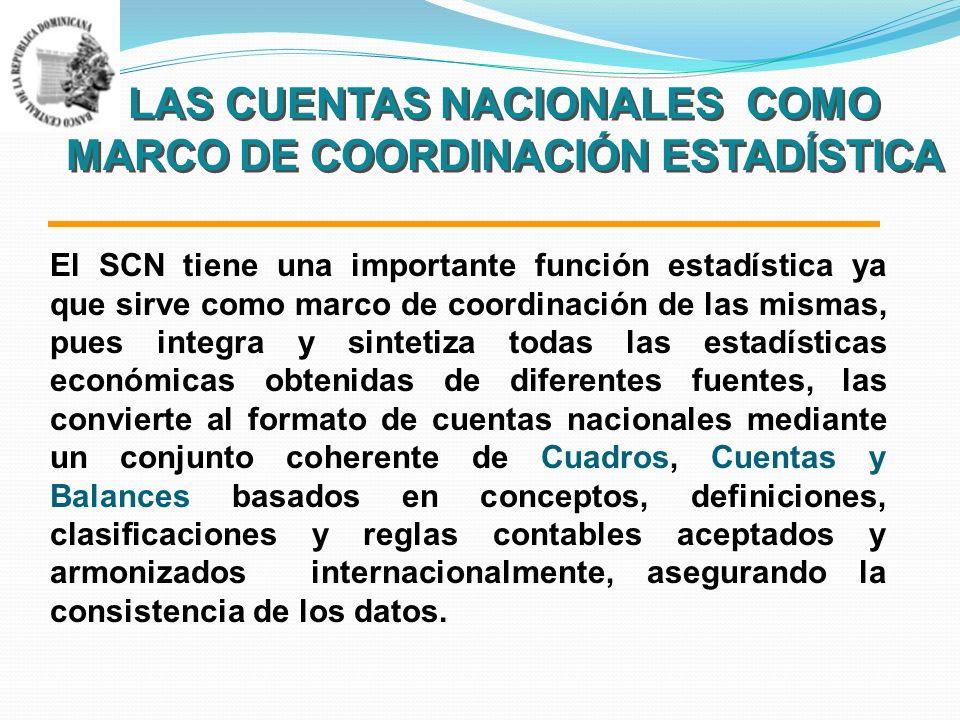 LAS CUENTAS NACIONALES COMO MARCO DE COORDINACIÓN ESTADÍSTICA El SCN tiene una importante función estadística ya que sirve como marco de coordinación de las mismas, pues integra y sintetiza todas las estadísticas económicas obtenidas de diferentes fuentes, las convierte al formato de cuentas nacionales mediante un conjunto coherente de Cuadros, Cuentas y Balances basados en conceptos, definiciones, clasificaciones y reglas contables aceptados y armonizados internacionalmente, asegurando la consistencia de los datos.