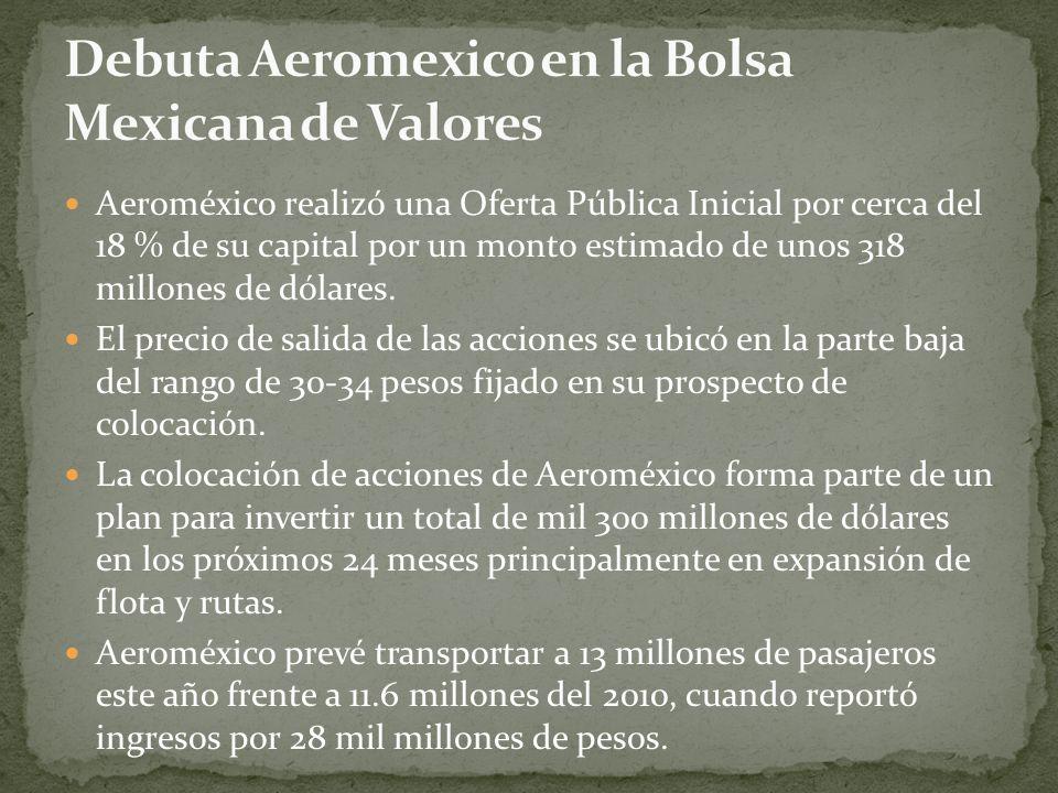 Aeroméxico realizó una Oferta Pública Inicial por cerca del 18 % de su capital por un monto estimado de unos 318 millones de dólares.