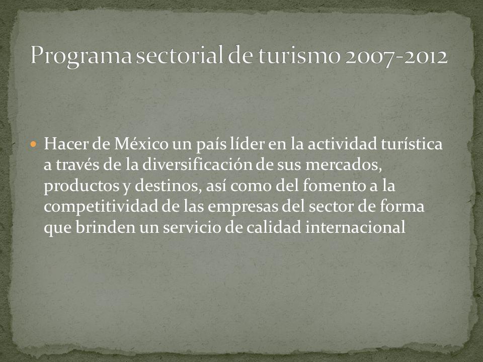 Hacer de México un país líder en la actividad turística a través de la diversificación de sus mercados, productos y destinos, así como del fomento a la competitividad de las empresas del sector de forma que brinden un servicio de calidad internacional