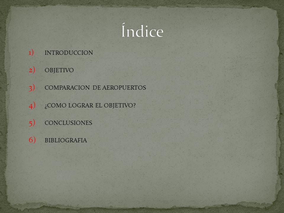 1) INTRODUCCION 2) OBJETIVO 3) COMPARACION DE AEROPUERTOS 4) ¿COMO LOGRAR EL OBJETIVO.