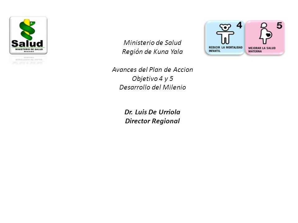 Ministerio de Salud Región de Kuna Yala Avances del Plan de Accion Objetivo 4 y 5 Desarrollo del Milenio Dr. Luis De Urriola Director Regional