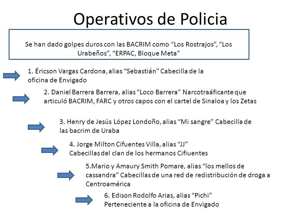 Operativos de Policia Se han dado golpes duros con las BACRIM como Los Rostrajos, Los Urabeños, ERPAC, Bloque Meta 1. Éricson Vargas Cardona, alias Se