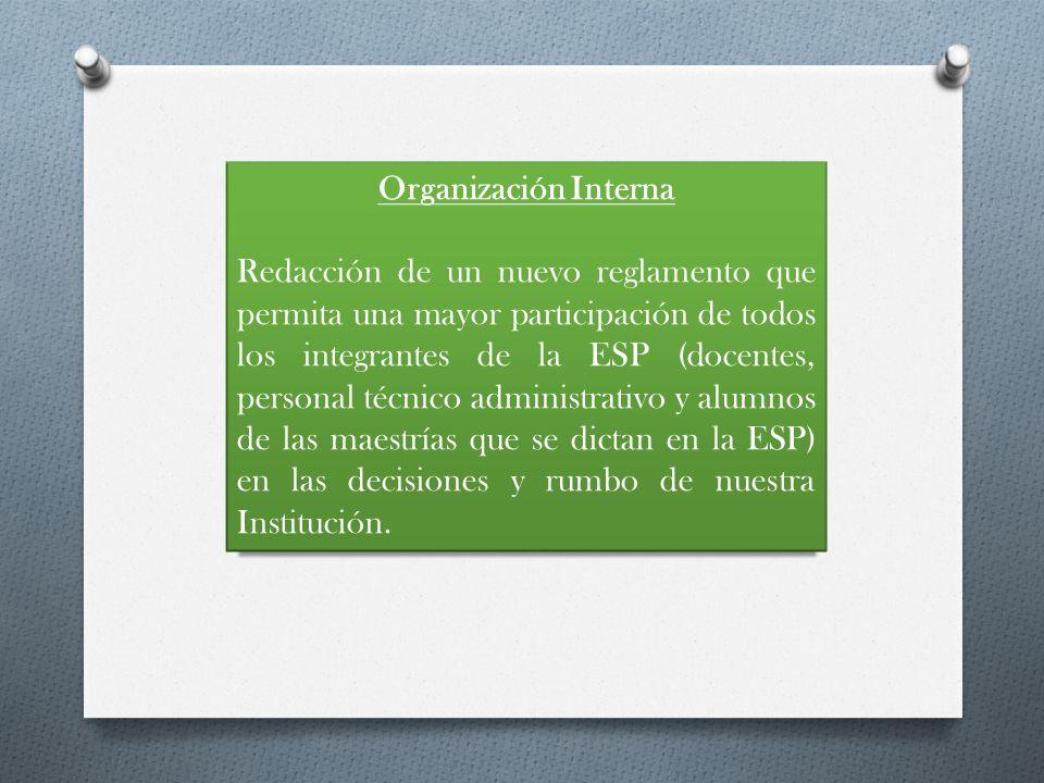 Organización Interna Redacción de un nuevo reglamento que permita una mayor participación de todos los integrantes de la ESP (docentes, personal técni