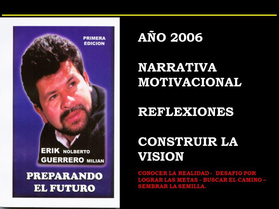 AÑO 2006 NARRATIVA MOTIVACIONAL REFLEXIONES CONSTRUIR LA VISION CONOCER LA REALIDAD - DESAFIO POR LOGRAR LAS METAS - BUSCAR EL CAMINO – SEMBRAR LA SEMILLA.