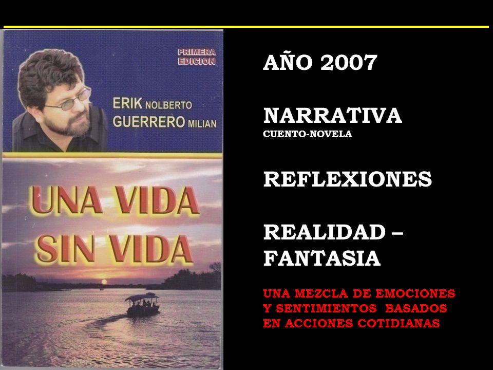 AÑO 2007 NARRATIVA CUENTO-NOVELA REFLEXIONES REALIDAD – FANTASIA UNA MEZCLA DE EMOCIONES Y SENTIMIENTOS BASADOS EN ACCIONES COTIDIANAS