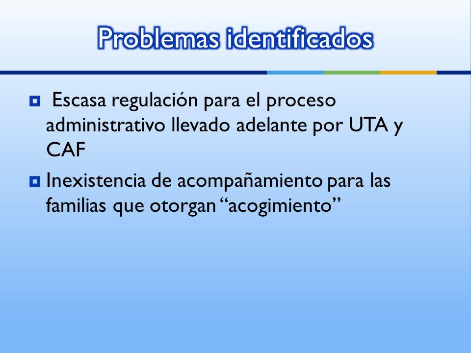 Escasa regulación para el proceso administrativo llevado adelante por UTA y CAF Inexistencia de acompañamiento para las familias que otorgan acogimiento