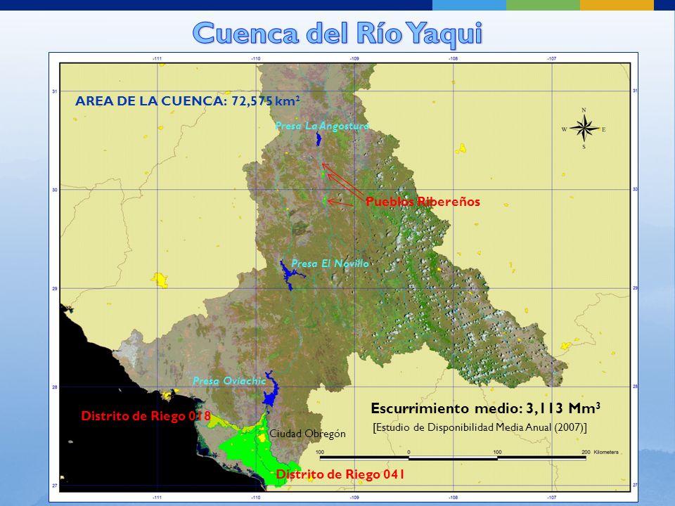 Los usos de agua público-urbano, industrial y agrícola se abastecen principalmente con agua superficial del río Yaqui.