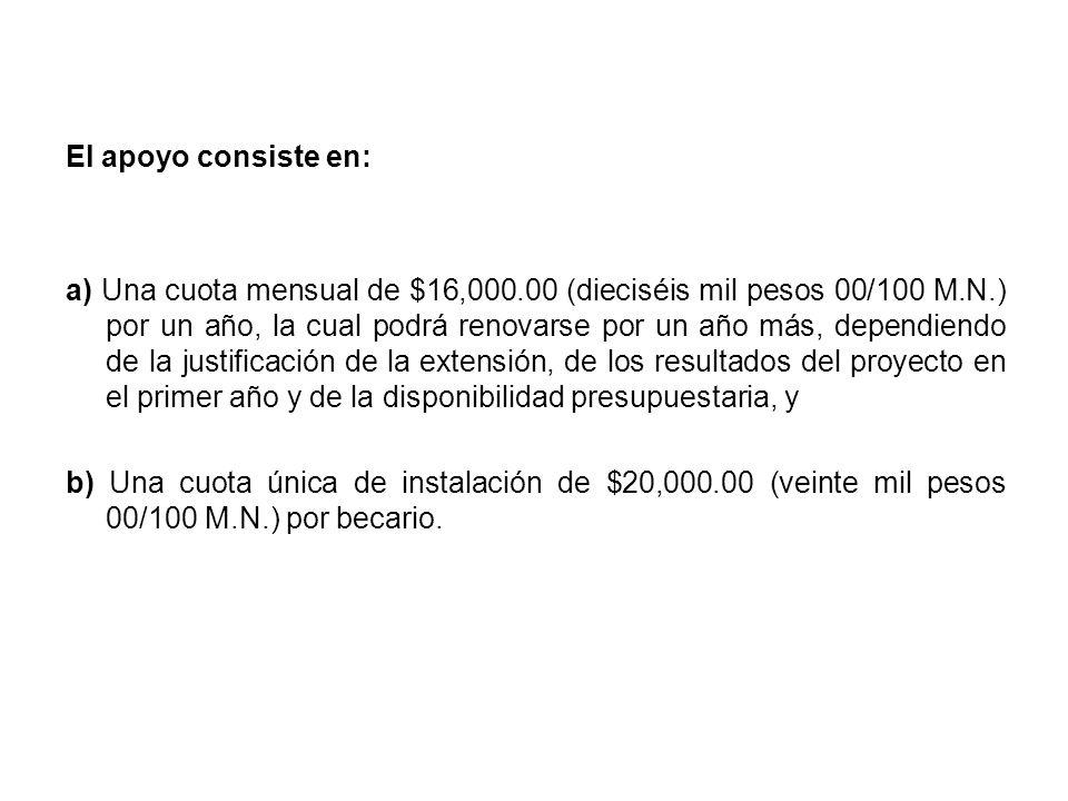 El apoyo consiste en: a) Una cuota mensual de $16,000.00 (dieciséis mil pesos 00/100 M.N.) por un año, la cual podrá renovarse por un año más, dependiendo de la justificación de la extensión, de los resultados del proyecto en el primer año y de la disponibilidad presupuestaria, y b) Una cuota única de instalación de $20,000.00 (veinte mil pesos 00/100 M.N.) por becario.