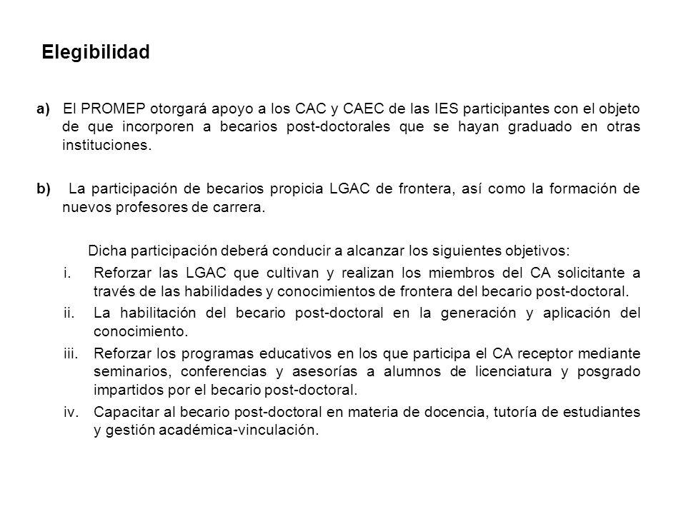 Elegibilidad a) El PROMEP otorgará apoyo a los CAC y CAEC de las IES participantes con el objeto de que incorporen a becarios post-doctorales que se hayan graduado en otras instituciones.