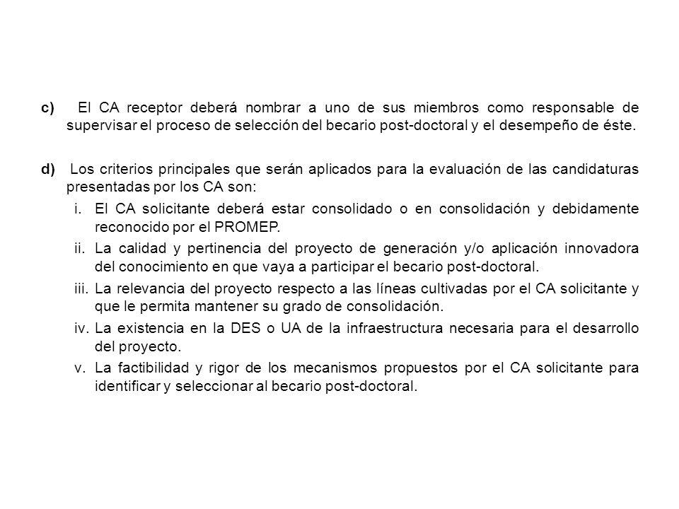 c) El CA receptor deberá nombrar a uno de sus miembros como responsable de supervisar el proceso de selección del becario post-doctoral y el desempeño de éste.