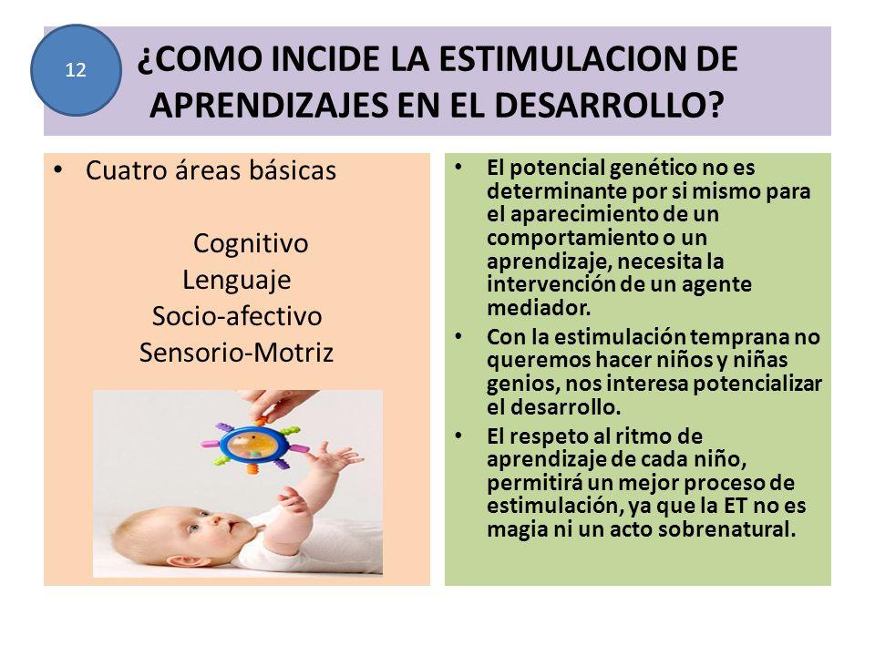 ¿COMO INCIDE LA ESTIMULACION DE APRENDIZAJES EN EL DESARROLLO? Cuatro áreas básicas Cognitivo Lenguaje Socio-afectivo Sensorio-Motriz El potencial gen