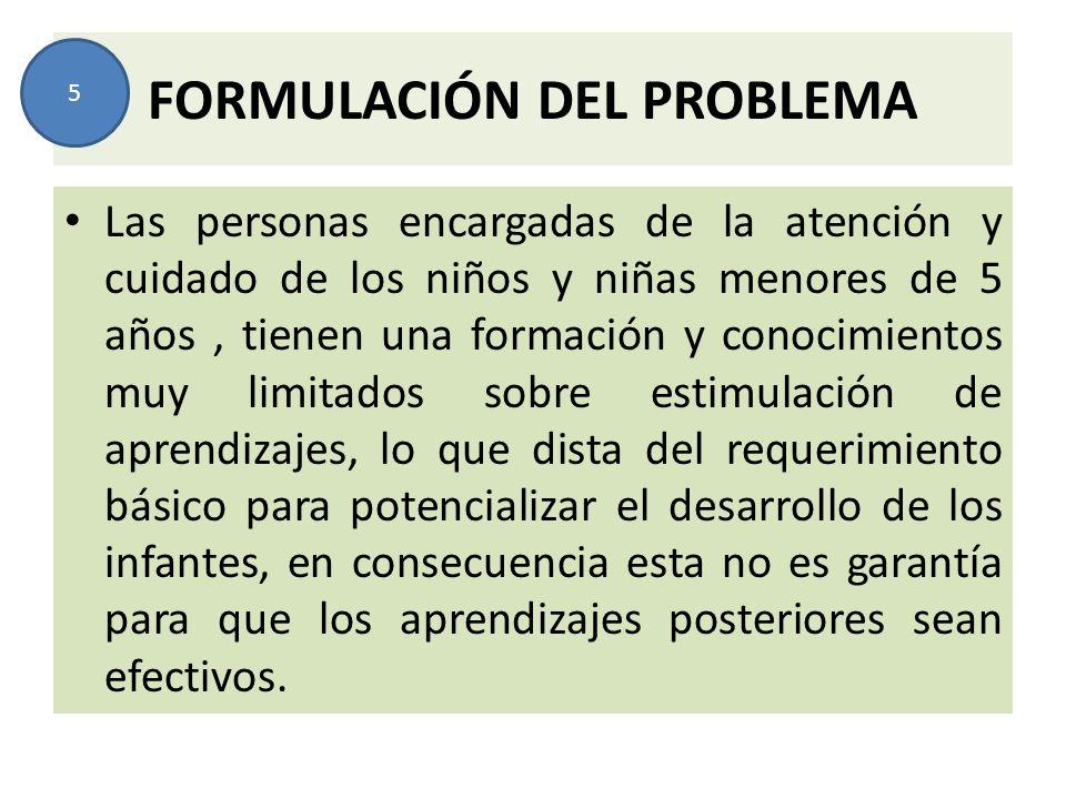 FORMULACIÓN DEL PROBLEMA Las personas encargadas de la atención y cuidado de los niños y niñas menores de 5 años, tienen una formación y conocimientos