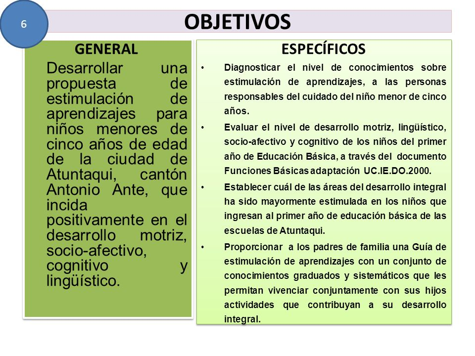 OBJETIVOS GENERAL Desarrollar una propuesta de estimulación de aprendizajes para niños menores de cinco años de edad de la ciudad de Atuntaqui, cantón