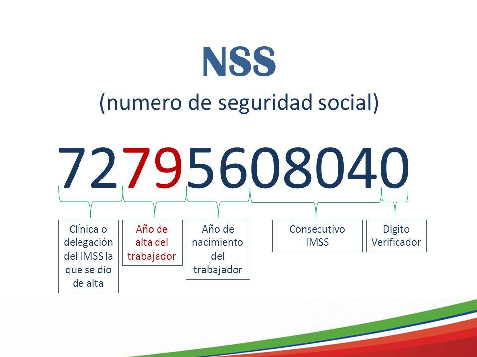 NSS (numero de seguridad social) 72795608040 Clínica o delegación del IMSS la que se dio de alta Año de alta del trabajador Año de nacimiento del trabajador Consecutivo IMSS Digito Verificador