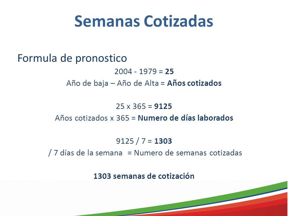 Semanas Cotizadas Formula de pronostico 2004 - 1979 = 25 Año de baja – Año de Alta = Años cotizados 25 x 365 = 9125 Años cotizados x 365 = Numero de d