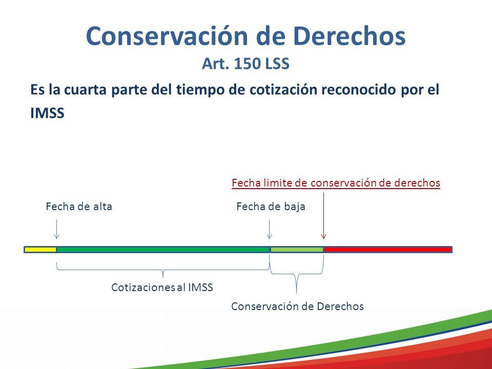 Conservación de Derechos Art. 150 LSS Es la cuarta parte del tiempo de cotización reconocido por el IMSS Fecha de altaFecha de baja Fecha limite de co