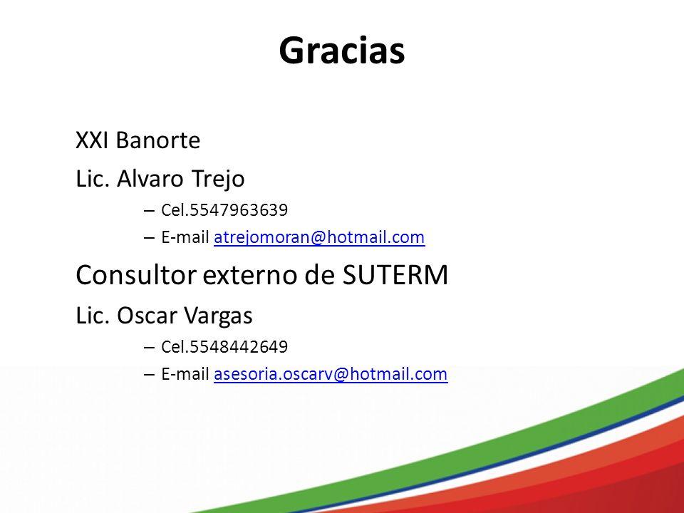 Gracias XXI Banorte Lic. Alvaro Trejo – Cel.5547963639 – E-mail atrejomoran@hotmail.comatrejomoran@hotmail.com Consultor externo de SUTERM Lic. Oscar