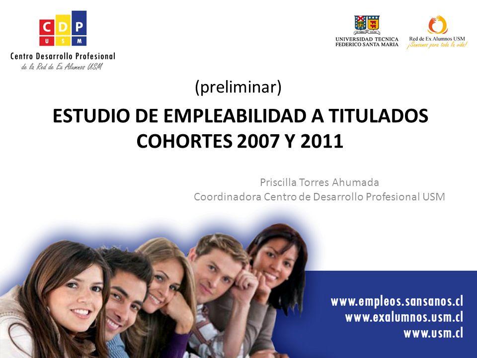 Priscilla Torres Ahumada Coordinadora Centro de Desarrollo Profesional USM ESTUDIO DE EMPLEABILIDAD A TITULADOS COHORTES 2007 Y 2011 (preliminar)
