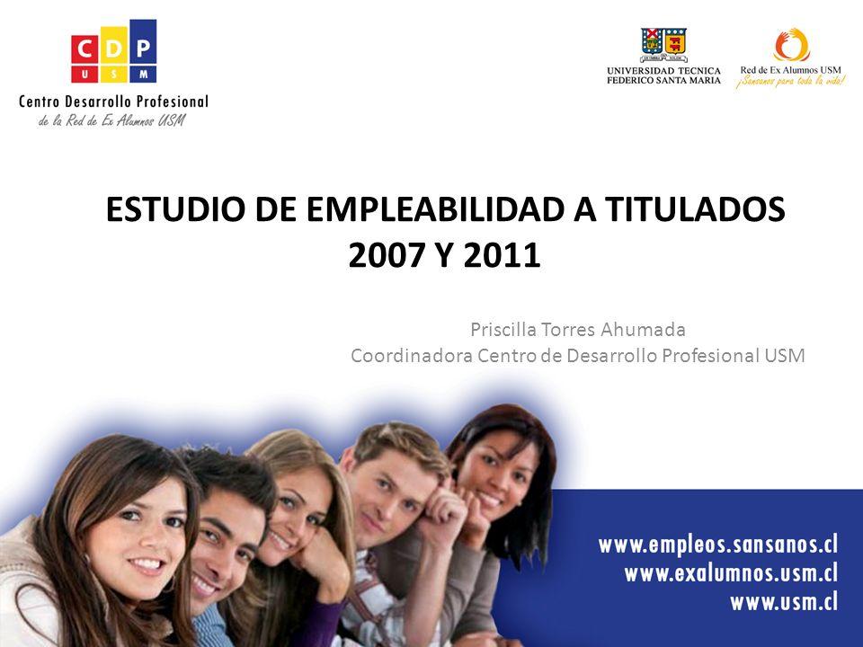 ESTUDIO DE EMPLEABILIDAD A TITULADOS 2007 Y 2011 Priscilla Torres Ahumada Coordinadora Centro de Desarrollo Profesional USM