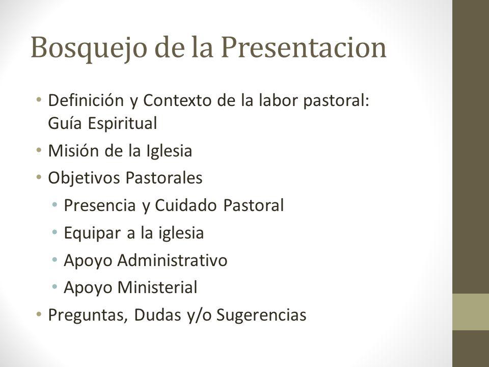 Bosquejo de la Presentacion Definición y Contexto de la labor pastoral: Guía Espiritual Misión de la Iglesia Objetivos Pastorales Presencia y Cuidado