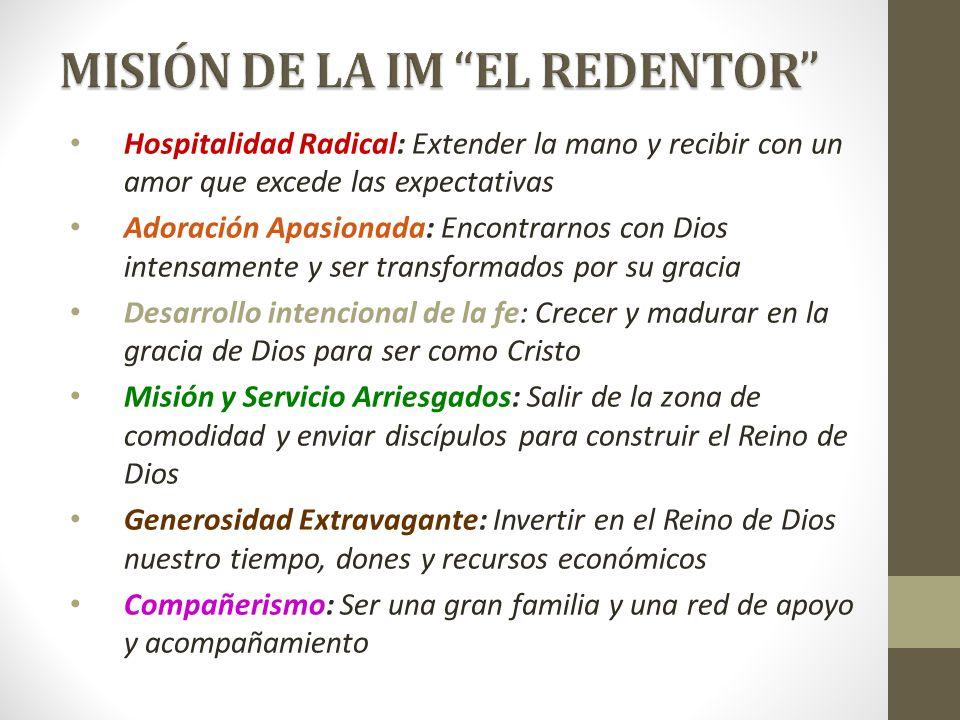 Hospitalidad Radical: Extender la mano y recibir con un amor que excede las expectativas Adoración Apasionada: Encontrarnos con Dios intensamente y se