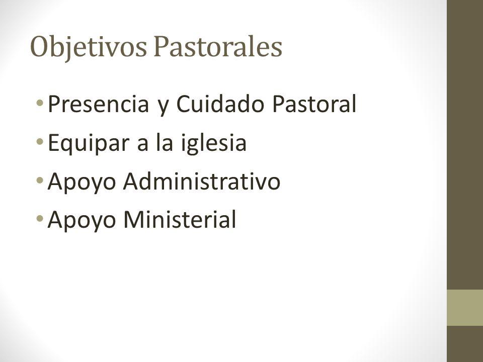 Objetivos Pastorales Presencia y Cuidado Pastoral Equipar a la iglesia Apoyo Administrativo Apoyo Ministerial