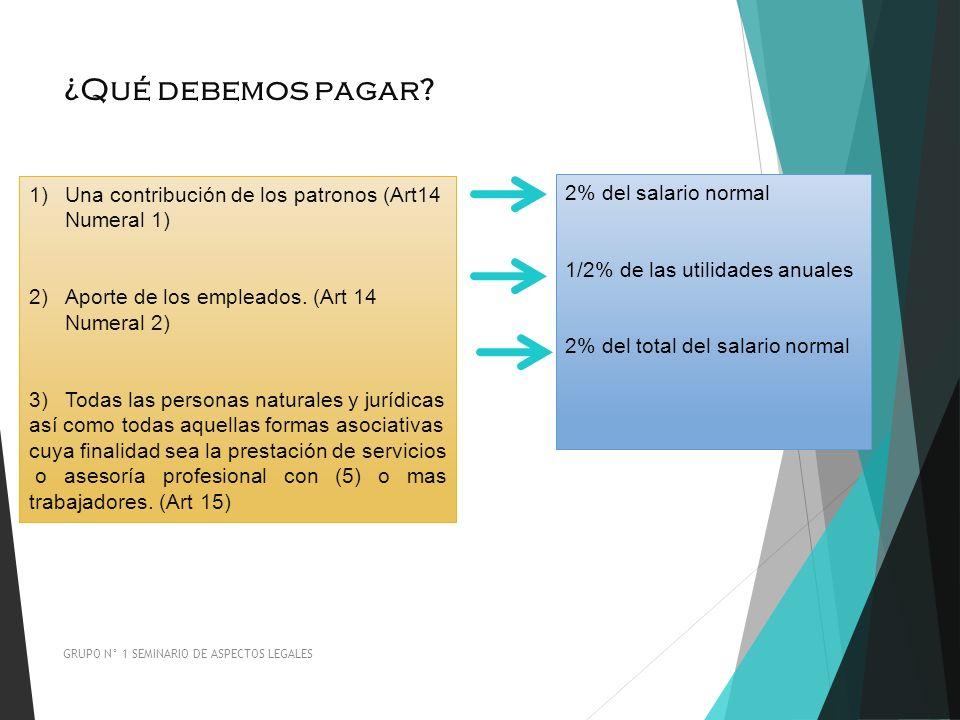 ¿Qué debemos pagar? GRUPO N° 1 SEMINARIO DE ASPECTOS LEGALES 1)Una contribución de los patronos (Art14 Numeral 1) 2)Aporte de los empleados. (Art 14 N