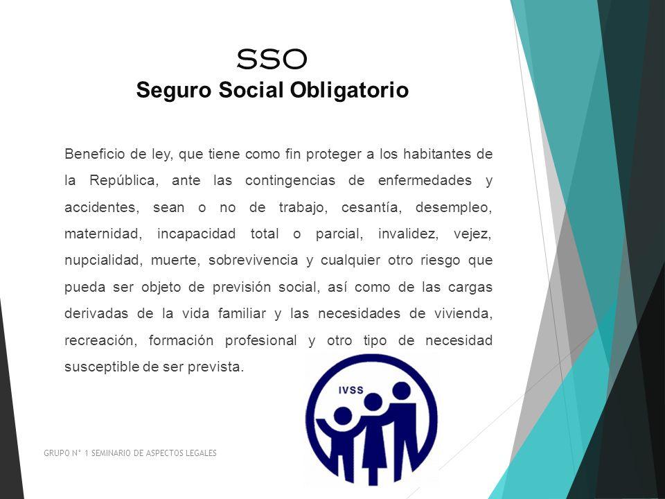 SSO Seguro Social Obligatorio GRUPO N° 1 SEMINARIO DE ASPECTOS LEGALES Beneficio de ley, que tiene como fin proteger a los habitantes de la República,