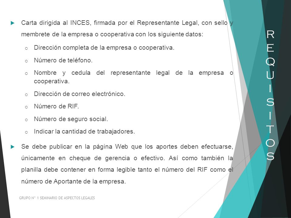Carta dirigida al INCES, firmada por el Representante Legal, con sello y membrete de la empresa o cooperativa con los siguiente datos: o Dirección com