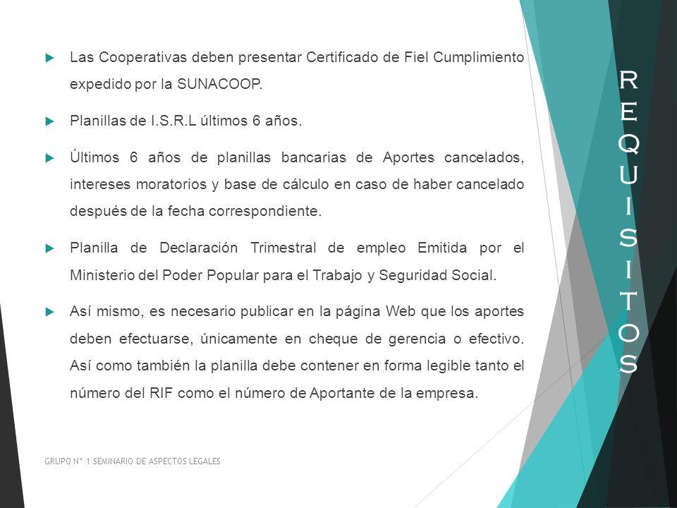 Las Cooperativas deben presentar Certificado de Fiel Cumplimiento expedido por la SUNACOOP. Planillas de I.S.R.L últimos 6 años. Últimos 6 años de pla