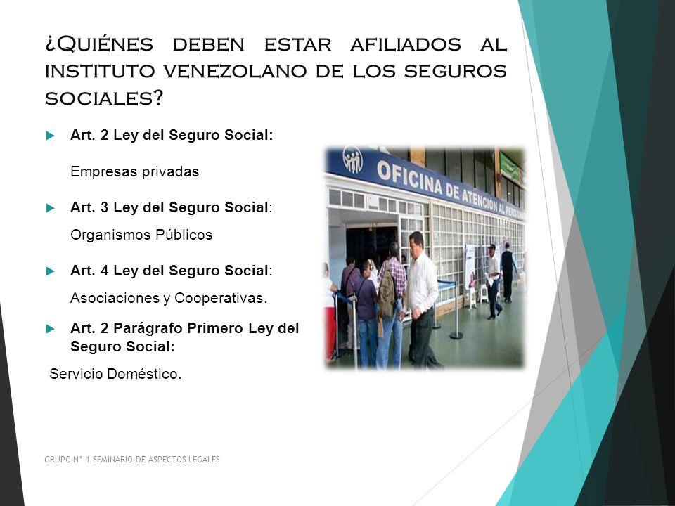 ¿Quiénes deben estar afiliados al instituto venezolano de los seguros sociales? Art. 2 Ley del Seguro Social: Empresas privadas Art. 3 Ley del Seguro