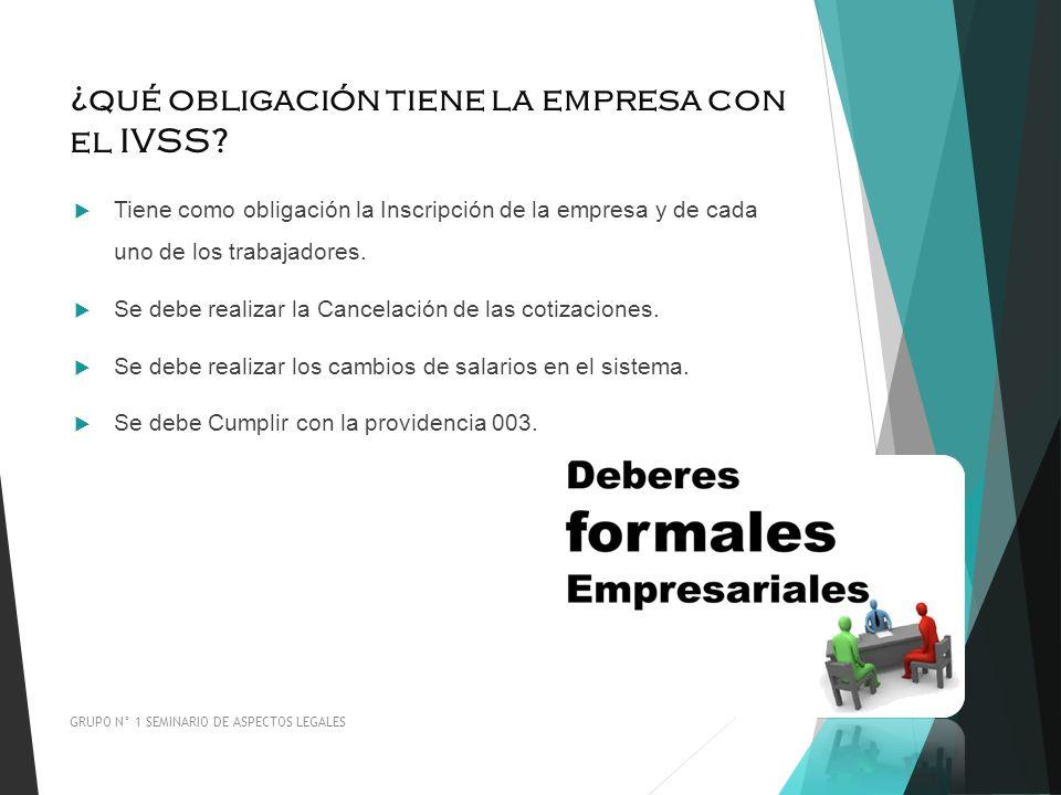 ¿qué obligación tiene la empresa con el IVSS? Tiene como obligación la Inscripción de la empresa y de cada uno de los trabajadores. Se debe realizar l