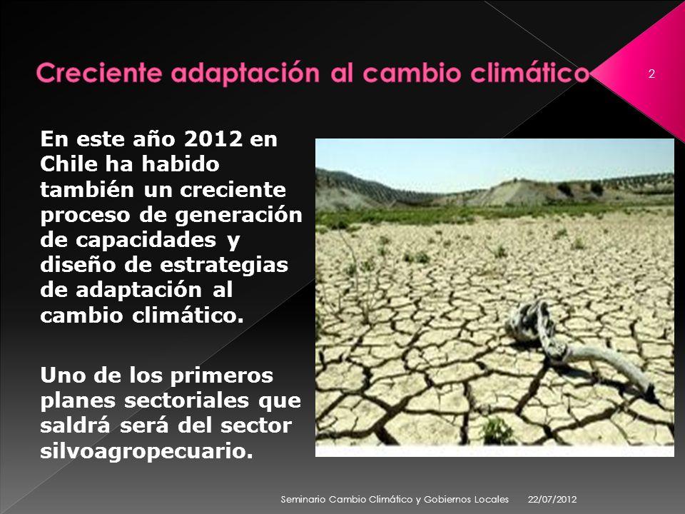 En este año 2012 en Chile ha habido también un creciente proceso de generación de capacidades y diseño de estrategias de adaptación al cambio climátic