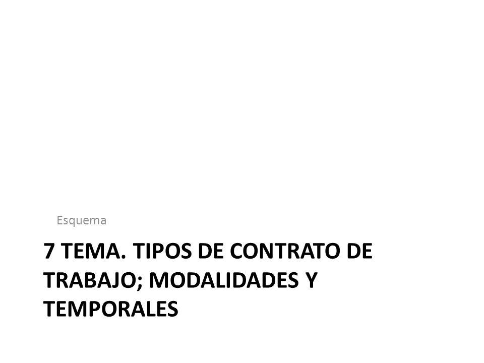 7 TEMA. TIPOS DE CONTRATO DE TRABAJO; MODALIDADES Y TEMPORALES Esquema