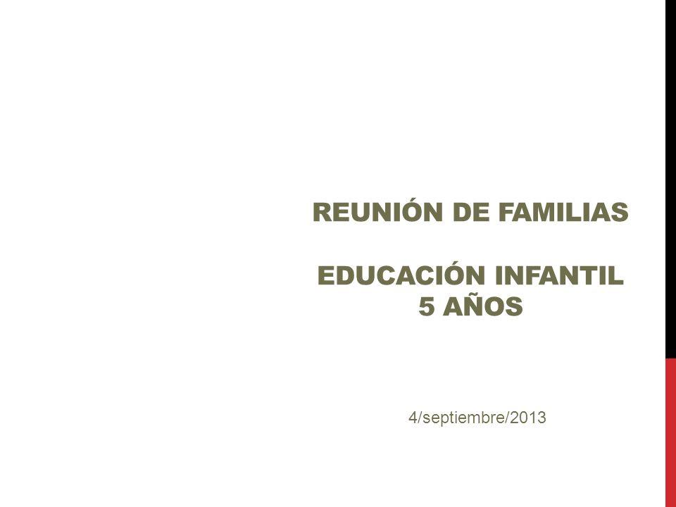 REUNIÓN DE FAMILIAS EDUCACIÓN INFANTIL 5 AÑOS Bienvenidos 4/septiembre/2013