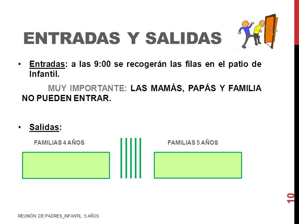 ENTRADAS Y SALIDAS Entradas: a las 9:00 se recogerán las filas en el patio de Infantil. MUY IMPORTANTE: LAS MAMÁS, PAPÁS Y FAMILIA NO PUEDEN ENTRAR. S